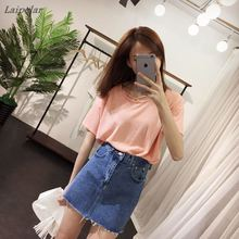 On sale 2018 Summer Women Pencil jeans denim Skirts tassel Jupe Mini Single Breasted Denim A-Line slim waist jeans Skirt