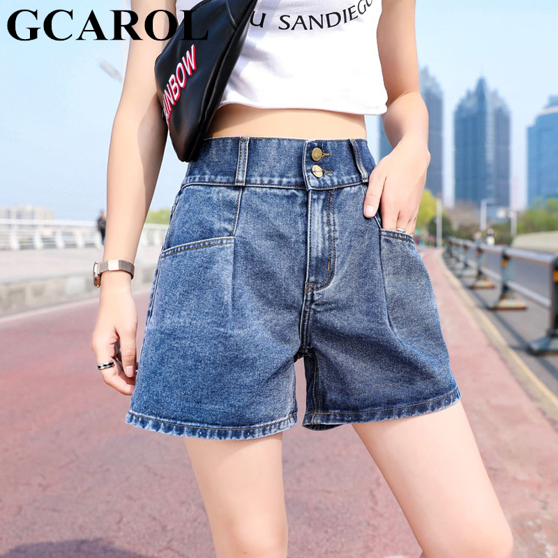 GCAROL New High Waisted Wide-Leg Denim   Shorts   2 Pockets Elastic Waist Casual Streetwear Girls Mini Jeans   Shorts   Plus Size 25-32