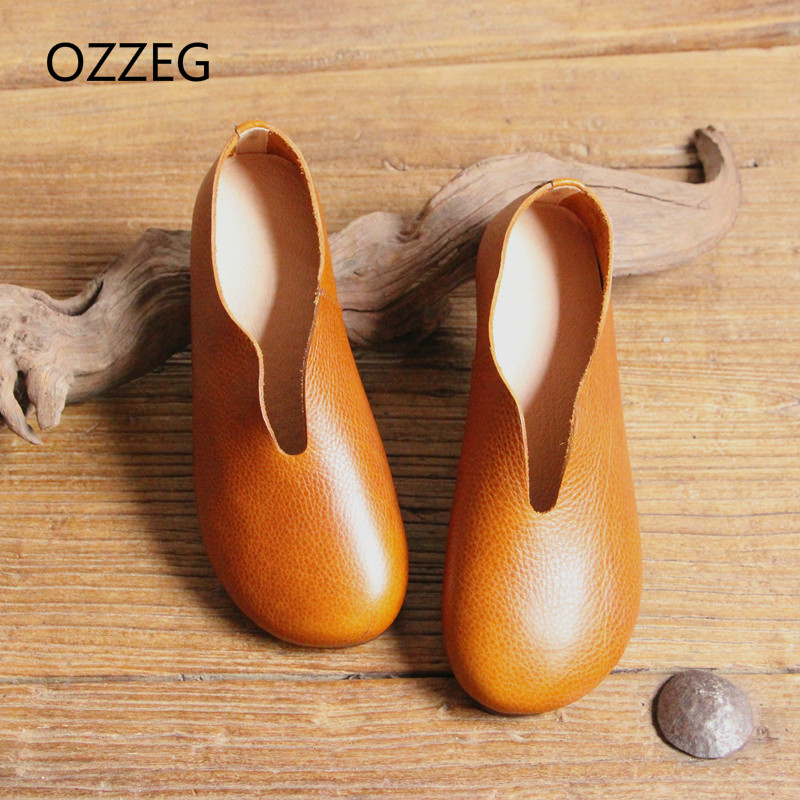 Spring Women Flat Shoes Genuine Leather Ladies Slip on Loafers Casual Shoes for Women Ladies Round Toe Soft Flats Vintage Shoes newest lady spring autumn shoes slip on lady soft leather flat platform fashion casual shoes women round toe loafers size 34 43