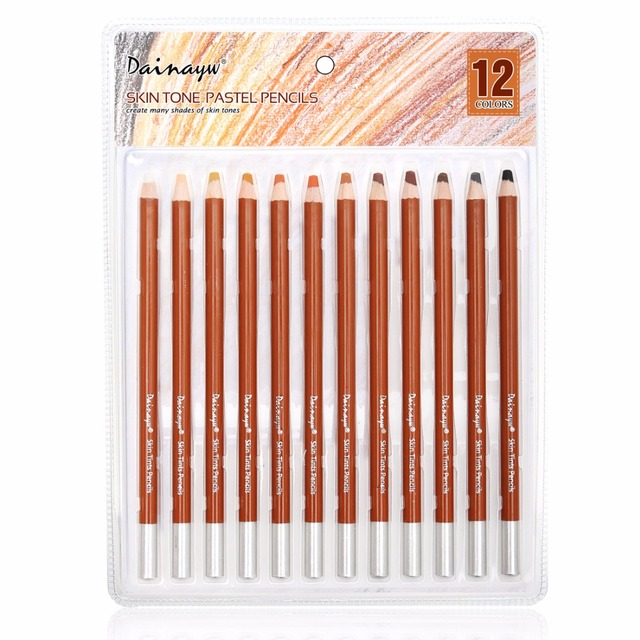 Dainayw 12 Colors Professional Soft Pastel Pencils Wood Skin Tints ...