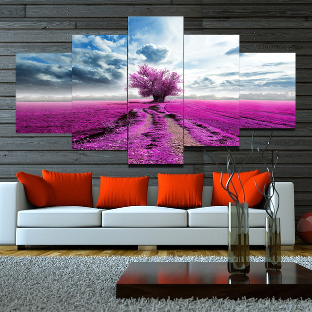 5 Panel Canvas Wall Art Purple Tree Canvas Painting Large Wall ...