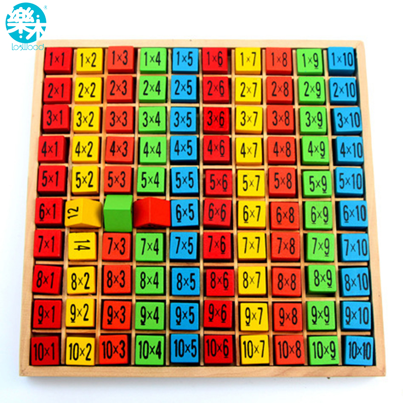 Bebé juguetes de madera 99 multiplicación matemáticas juguete 10*10 figura bloques bebé aprender educativo montessori regalos envío libre