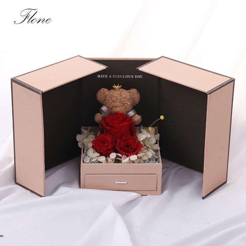 Flone artificielle Rose ours lumière cadeau boîte saint valentin mère petite amie Festival anniversaire commémorer cadeau boîte Art à la maison