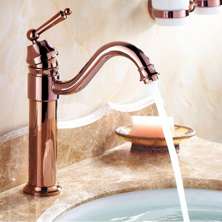 Free shipping Deck Mounted Basin Faucet Rose Gold Finish Bathroom Sink Mixer Faucet Hot and Cold Water RS338 free shipping concealed installation black color basin faucet hot and cold water wall mounted basin faucet bf999a