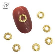 LEAMX 10 PCS/bag Round Alloy Nail Art Decorations Gold Silver 3D Frame Manicure DIY Nails Charms Tools NEW Supplies Decor L399