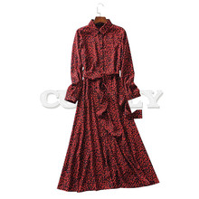 Vintage CUERLY Print Ankle Length Dress Bow Tie Sashes Long Sleeve Animal Pattern Chic Robe Maxi Casual Mujer