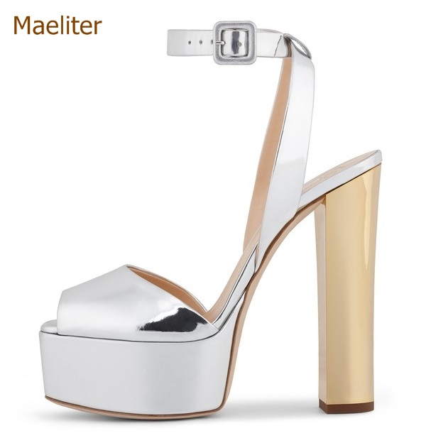 3c916545f Metálico plataforma vestido bombas Colorized Chunky talón sandalias Bling  lentejuelas zapatos de novia brillante Paillette tacones gruesos en Sandalias  de ...