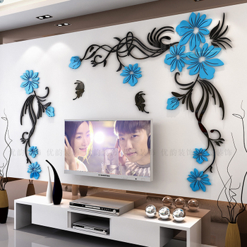 Creative flower 3D stereo acrylic wall sticker background warm decoration Large Size Mural Home Decor Living Room Wall Decals 19