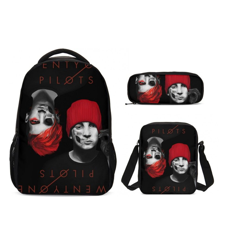 3Pcs/Set Portfolio School Bags Girls Boys Twenty One Pilots Letter 3D Printing Backpacks Casual Daypacks Bookbag Mochila Escolar(China)