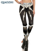 QIAOZHI Star War Cosplay Leggings Women High Waist Workout Leggins Print Robot Armor Comic Slim Legging