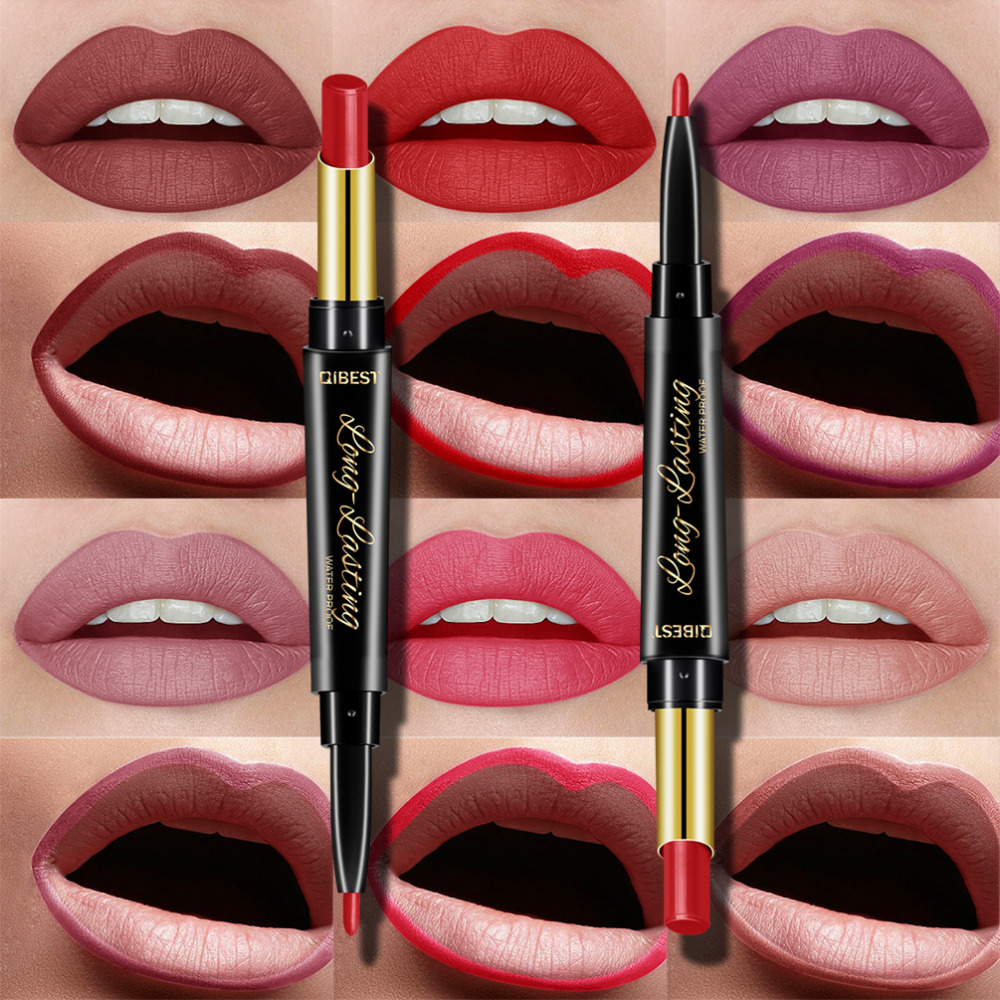 QIBEST 2 In 1 Double Head  Lip Liner Pencils Lipstick Waterproof Long Lasting Moisturizing Pigments Nude Color TSLM1
