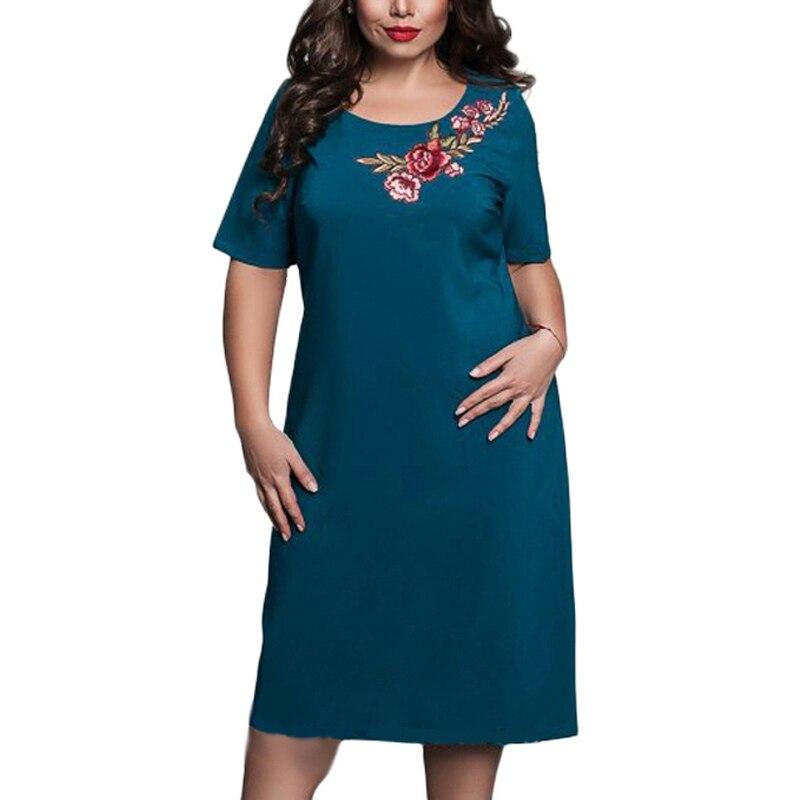 L-6XL, большие размеры, женские элегантные офисные вечерние платья больших размеров, летние платья с короткими рукавами, цветочный Вышитый Са...