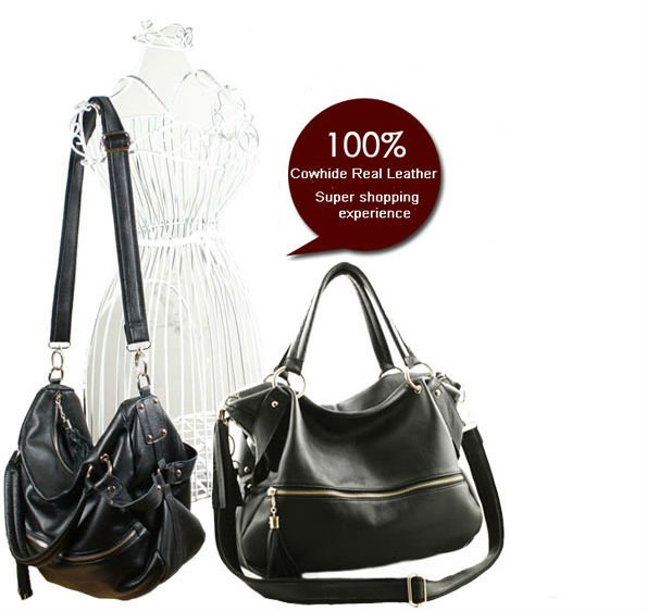 Free Ship Factory Price Hot Fashion Fringe Women S Tote Black Genuine Leather Real