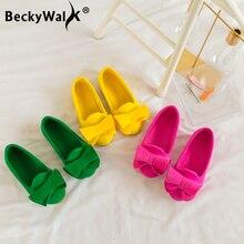 Весенняя детская обувь с бантом для девочек; 3 цвета; мягкий светильник; кроссовки для малышей; Детские Балетки принцессы на плоской подошве; обувь для девочек; CSH016