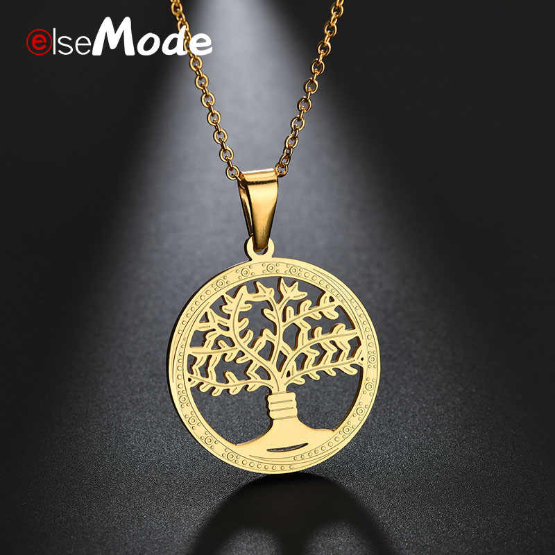 ELSEMODE Gold Hollow Tree of Life Round Necklace 316L Stainless Steel Chain Necklace for Women Girls Fashion Gifts Charm Bijoux