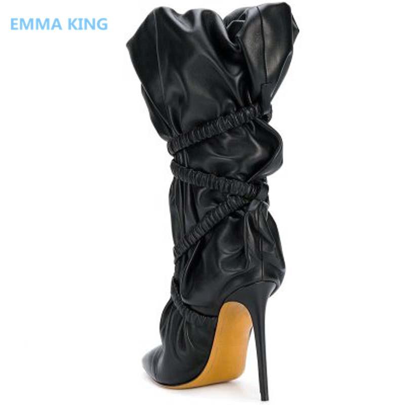 Chevalier Chaussures Bout Style Picture Bande Ruches Hauts Étroite Bottes Europe Chaussons Hiver Femme In Noir Aiguille Punk Talon Femmes Pointu As Talons Shown 48nTO