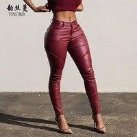 Fashion Women PU Pants Autumn 2018 Women Sexy Skinny Black Pencil Pants Slim Stretch PU Leather Trousers High Waist Zipper 31C6A