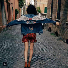 Back for wings red lips embroidered flower blue denim outerwear