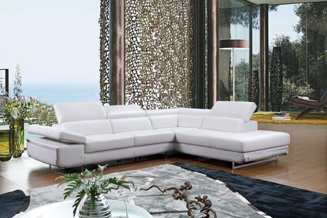 Moderne hoek lederen bank l vorm sofa set ontwerpen voor woonkamer ...