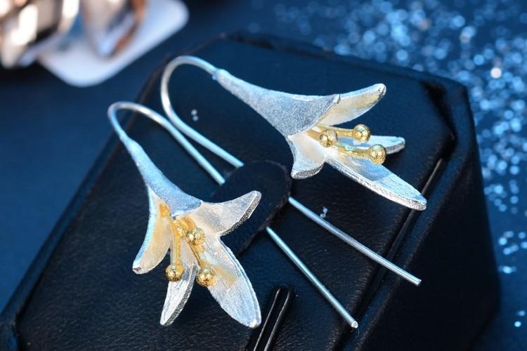 100% 925 šterling srebrna modna trobenta cvetje dame`stud uhani - Lep nakit