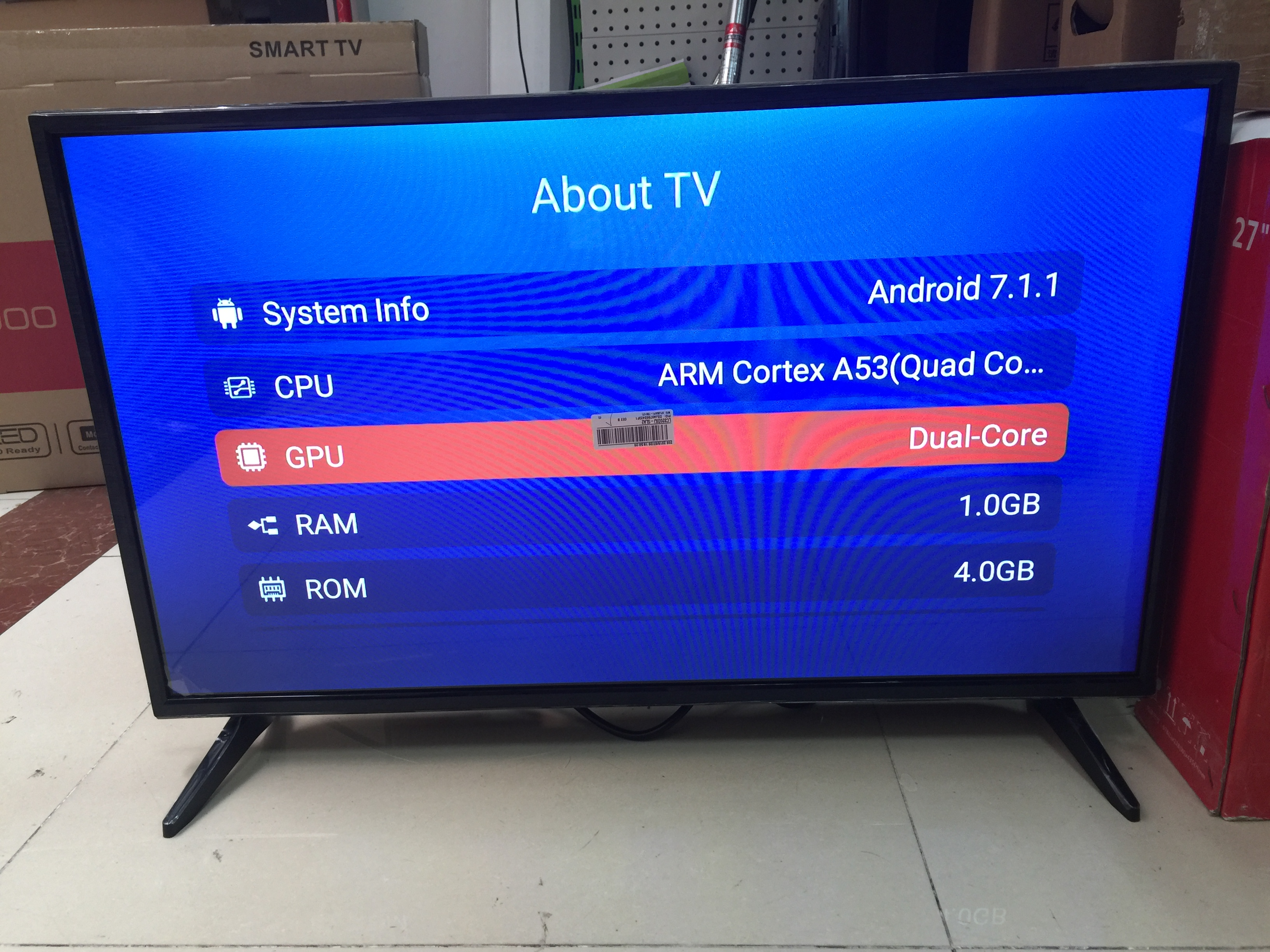 32 inch Wifi Smart Android 7.1.1 Ram 1GB ROM 4GB internet led television tv