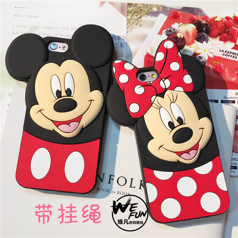 3d lindo mickey mouse teléfono case para iphone 7 plus divertido de la historiet