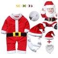 2016 Regalo de Navidad Del Bebé Ropa Del Mameluco Del Sombrero Del Babero Conjuntos Lindo Santa Bebe Ropa Fleece Cap Muchachos Trajes de Una sola Pieza ropa de bebé