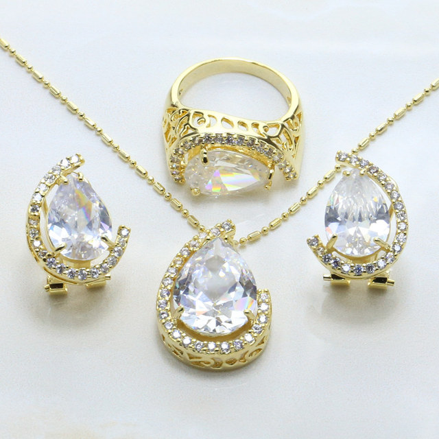 2017 New India Jewelry Wedding Decoration Zircon Jewelry Set Women 18 Karat Gold Jewelry Set 9058