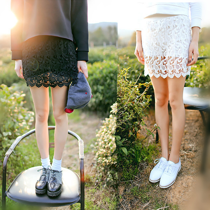 Pop Summer One Piece Fashion & Sweet Cute Women Girls Lady Crochet Lace Shorts Short Skirts Hollow Elastic Lace