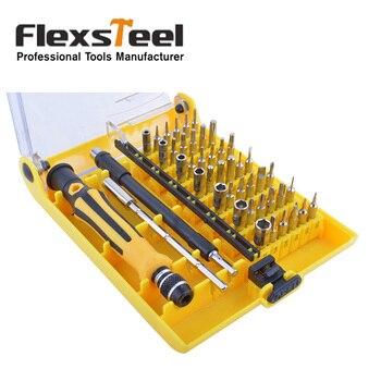 Flexsteel Precision 45 In 1 Screwdriver Set Electron Torx Bit Mini Magnetic Screwdriver Kit Repair Hand Tools for Phone,Watch