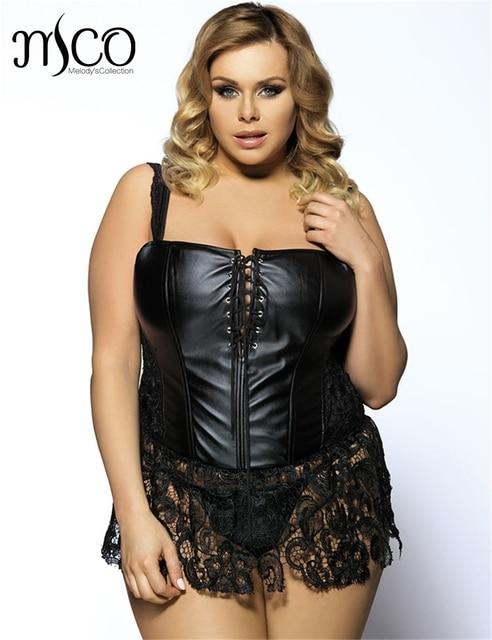 Black Lace Plus Size Shapewear Corset G String Fashion Trendy Faux