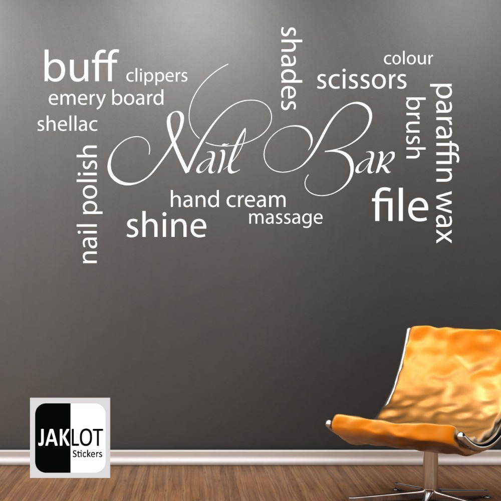 Hot Selling Nail Bar Collage Vinyl Wall Decal Nail Salon