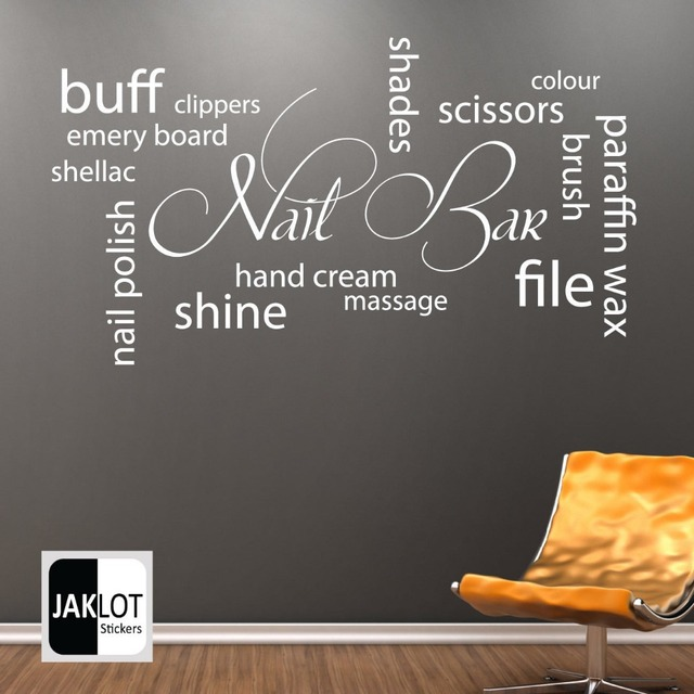 Hot Selling Nail Bar Collage Vinyl Wall Decal Nail Salon Lettering ...