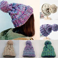 Winter Warm fur ball cap pom poms winter hat for women girl 's wool hat knitted cotton beanies cap brand new thick female cap