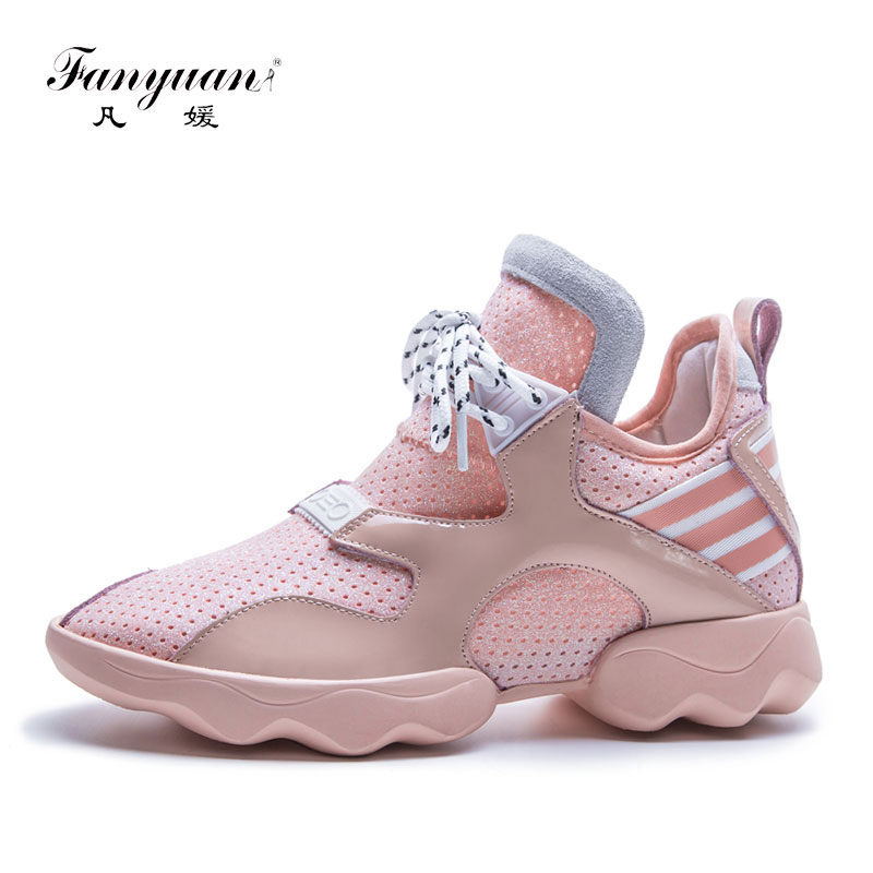 Fanyuan new fashion sneakers women lace up genuine leather spring autumn casual shoes round toe flat shoes woman Dad White Shoes new high quality women shoes solid black spring autumn brogue shoes woman s fretwork lace up flat heels round toe oxfords shoes