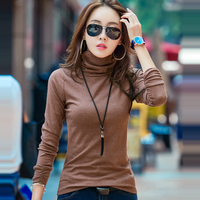 Harajuku Autumn Winter Female Slim Long Sleeved T Shirt Cotton Female Trutleneck Womens Tops And T