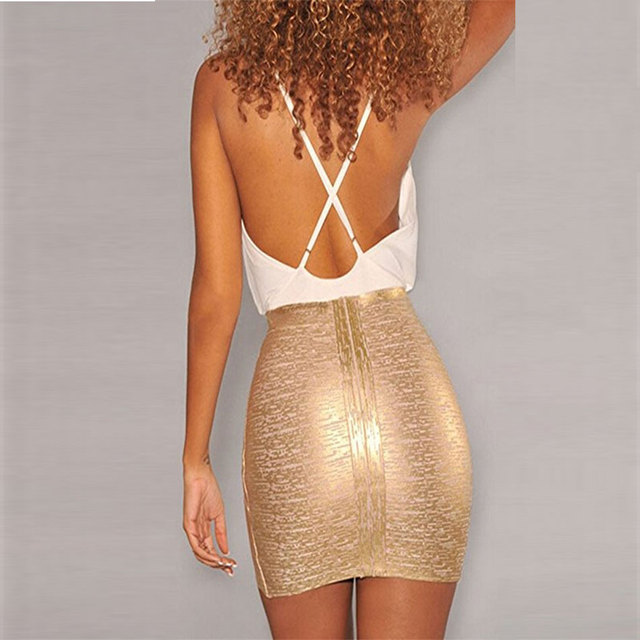 Women Sexy Gold Silver Bandage Skirts Good Stretch Mini Bodycon Pencil skirt Elegant Lady Club Evening Party Wholesale