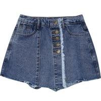 Women Denim Skorts 2018 Spring Summer New Vintage Cut Off Button Mini Skirt Shorts for Girls Woman Casual Black Blue Jean Skirts