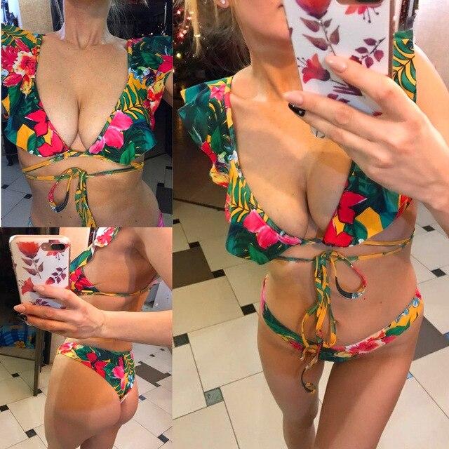 Women Swimwear Off Shoulder Ribbed Thong Swimsuits Printing Sexy Summer Swimwear Bandeau Floral Swimming Suit Brazilian Biquni 4