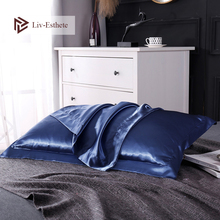 Liv-Esthete Luxury Blue 100% Nature Mulberry Satin Silk Luxury Pillowcase Wholesale 19 Color Silky Bed Pillow Case For Women Men liv esthete luxury blue 100% nature mulberry satin silk luxury pillowcase wholesale 19 color silky bed pillow case for women men