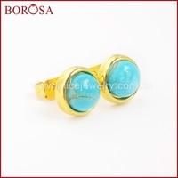 BOROSA Druzy Jewelry 5 pcs Gold Color 8mm Natural Round Greenish Sky Blue Stone Stud Earring ZG0121