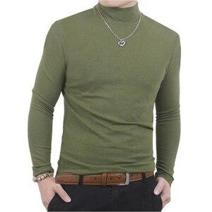 Image 5 - Camisa de t dos homens t shirt homem inverno térmica meia gola tshirt outono primavera camisetas mens quentes básicas grossas shirts tops roupas