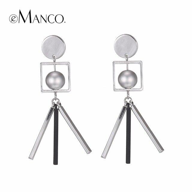 EManco geométrico cubo colgante gota pendientes colgantes para mujeres moda Simple plateado lindo pendientes marca joyería