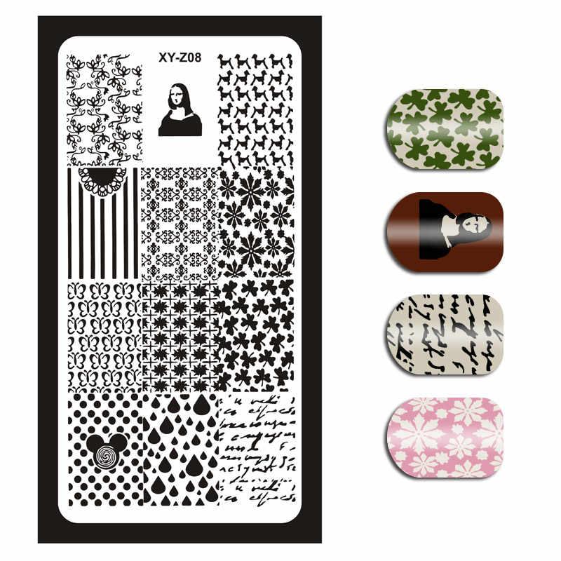 1 pedaço Da Arte Do Prego Placas de Imagem Inglês Carta Padrão de Flor Stamp Template Placas DIY Polonês Stamping Plates Prego Stencils XYZ04