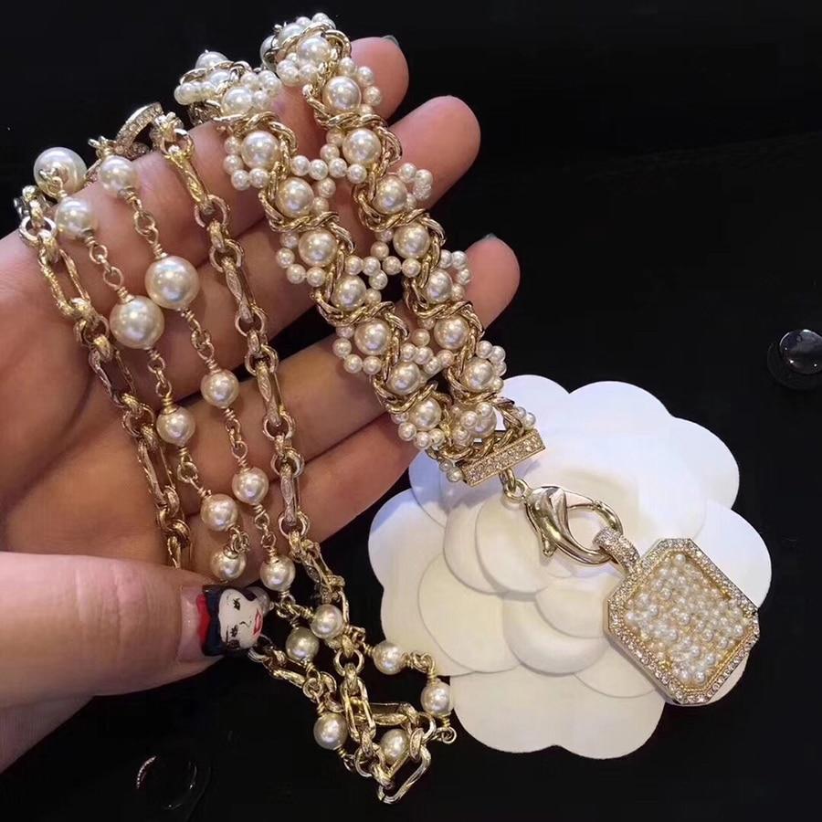 2019 nouveau Design de luxe marque C bijoux mode Long Maxi collier cristal pour les femmes fête de mariage quotidien Designer accessoires