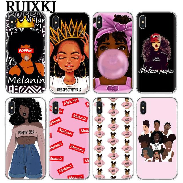 2 bunz меланин поппин Aba Мягкие силиконовые чехол для iPhone X 6 7 8 плюс 5 5S se 6s модные черные девушка крышка чехол для iPhone 7