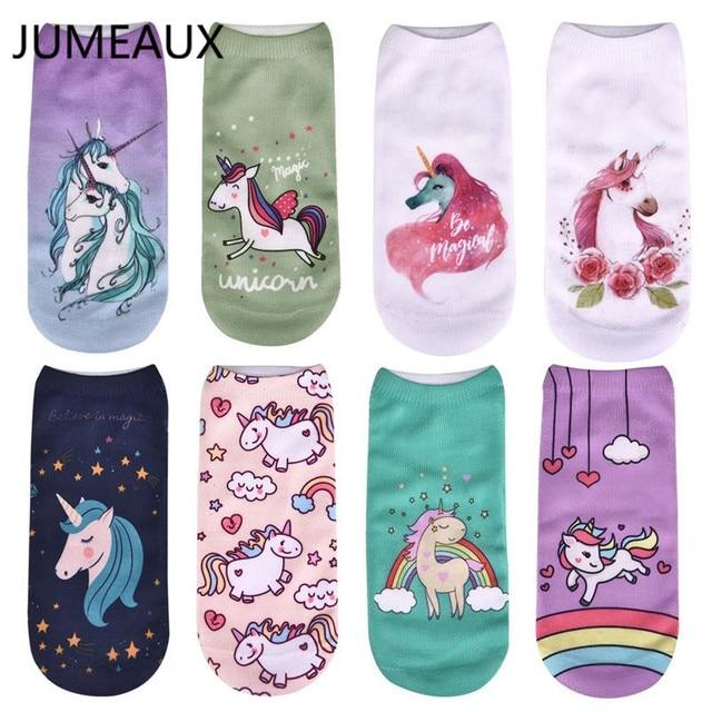 JUAEAUX 2018 Newly Novelty Cute Unicorn Print Socks Women's Harajuku Casual Ankle Socks Breathable Short Socks For Unisex