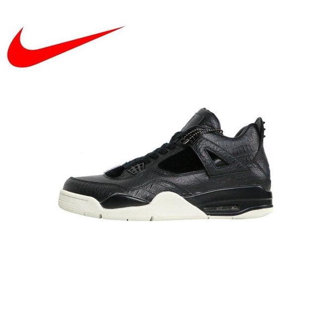 2a02e01fabc876 High Quality Nike Air Jordan 4 Retro Premium Black Leather Men s  Skateboarding Shoes Outdoor Sneakers Breathable 819139 010