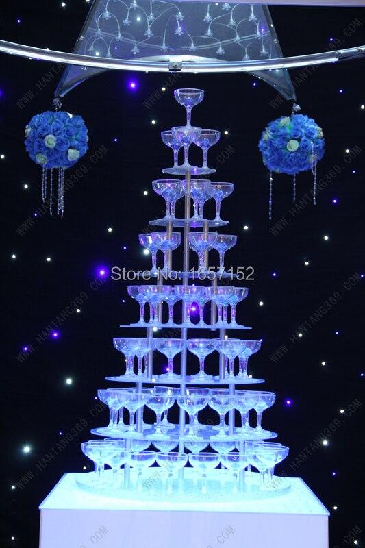 Vino de la boda torre, siete niveles ronda arcrylic torre de champán, fuentes fe