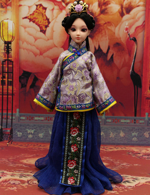 30345d39cf Handmade Doll's Clothes Qing Dynasty Girl Dress Chinese Ancient Costume  Clothes for 30cm BJD1/6 Doll Girl Toys Dolls Accessories